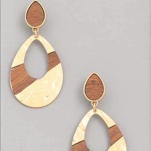 Wood Striped Metal Drop Earrings
